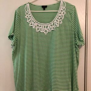 Talbots play green striped top